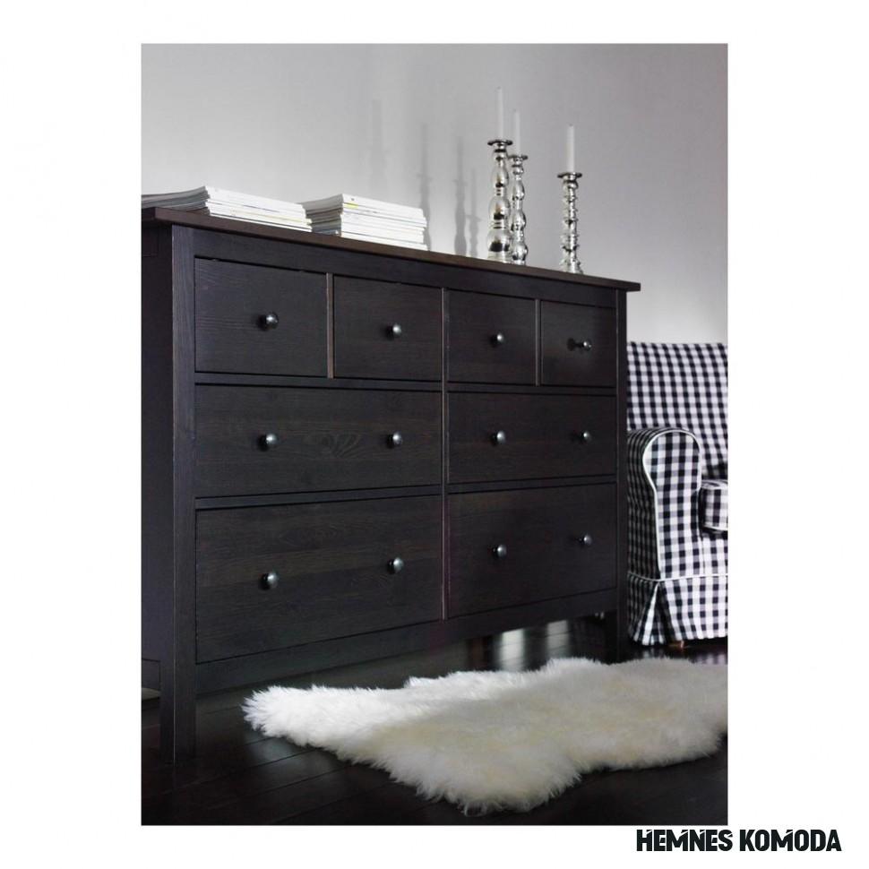 HEMNES Chest of 20 drawers - black-brown