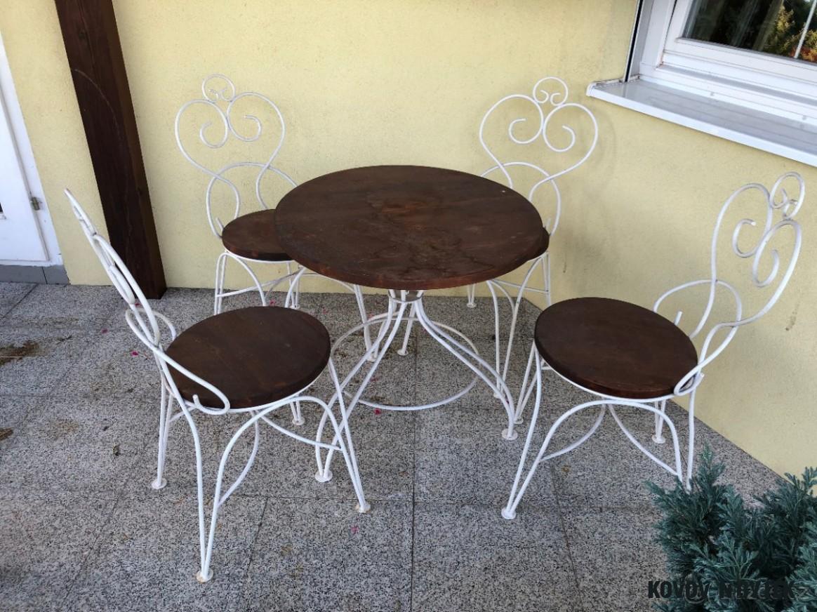 Zahradní kovový nábytek venkovní, židle a stůl. - Jihlava - Bazoš.cz