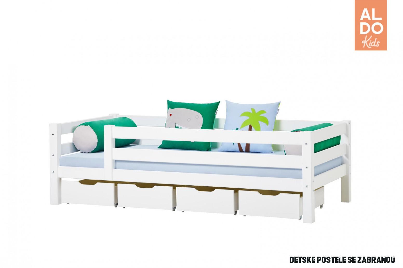 Dětská postel se zábranou Dinosaurus I - čtyři šuplíky