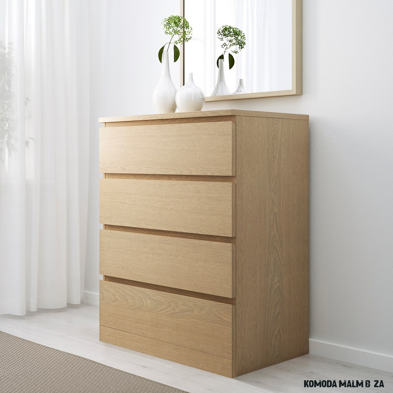 MALM Komoda se 14 zásuvkami - bíle mořená dubová dýha 14x14 cm