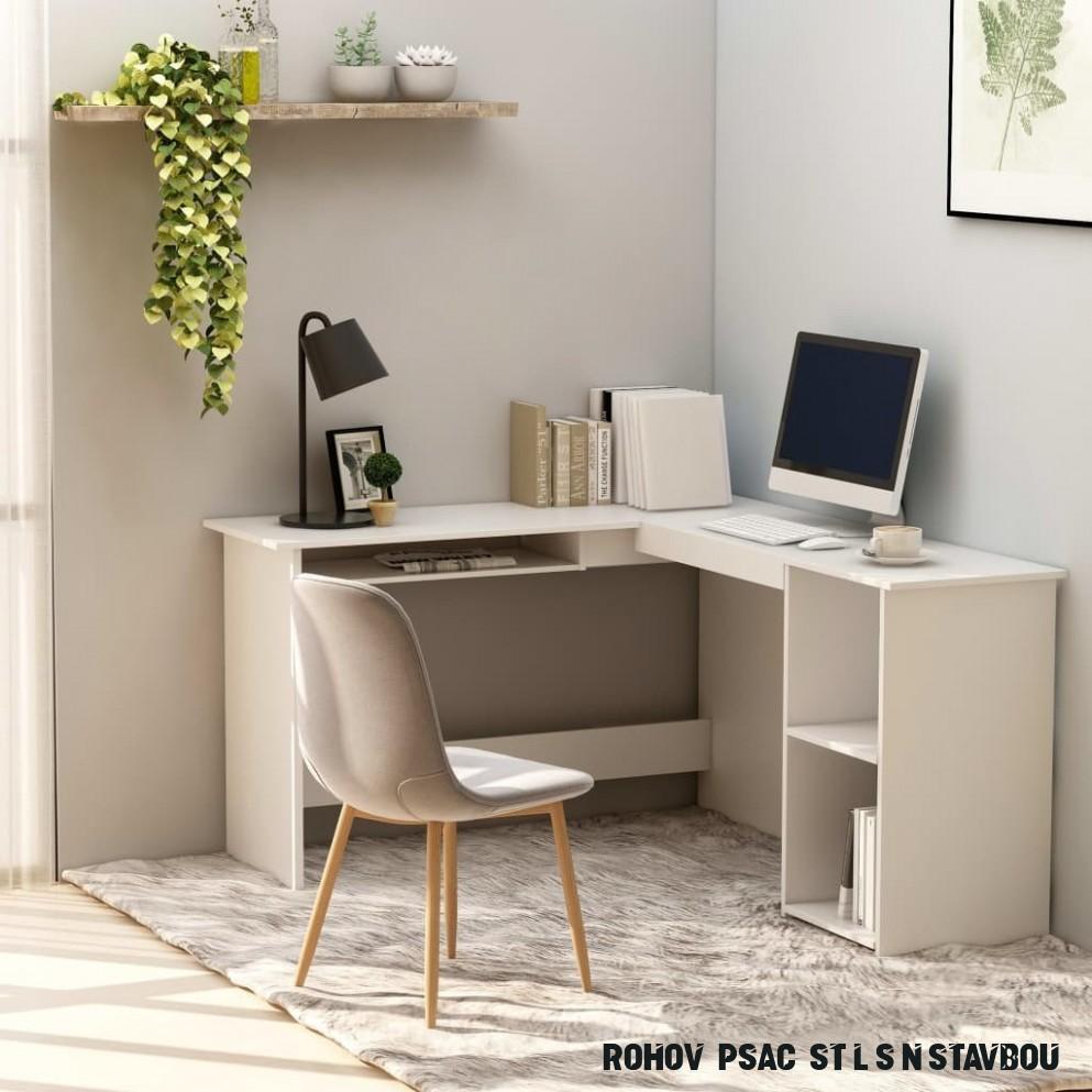 Vidaxl Rohový psací stůl 8 x 8 x 8 cm bílý