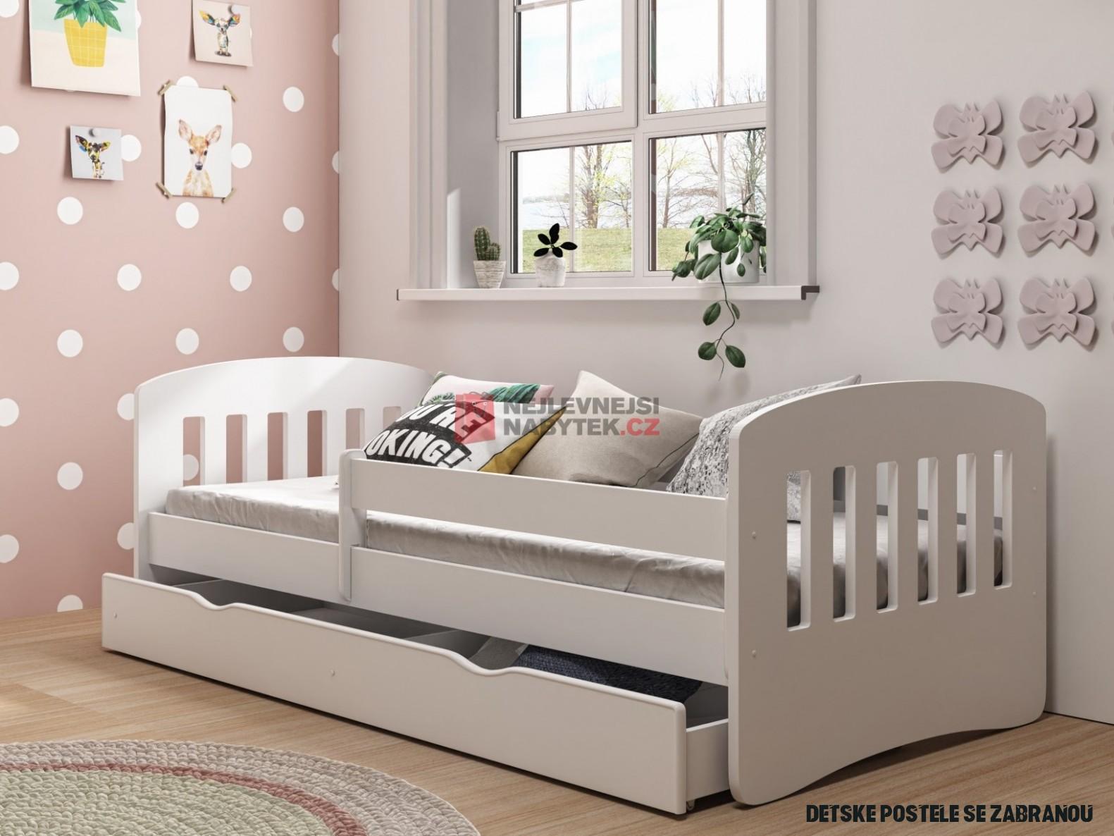 Dětská postel se zábranou a zásuvkou SINIOLCHU 8 8x840 cm, bílá