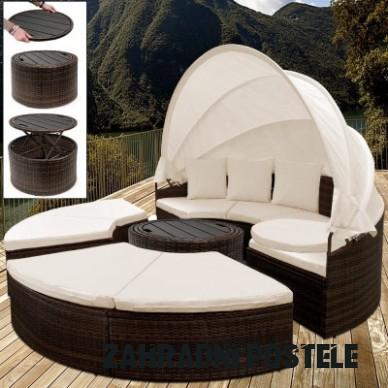 Ratanová zahradní postel ISLAND DEU XXL hnědá 15cm