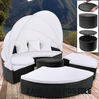 Ratanová zahradní postel ISLAND DEU XXL černá 15cm