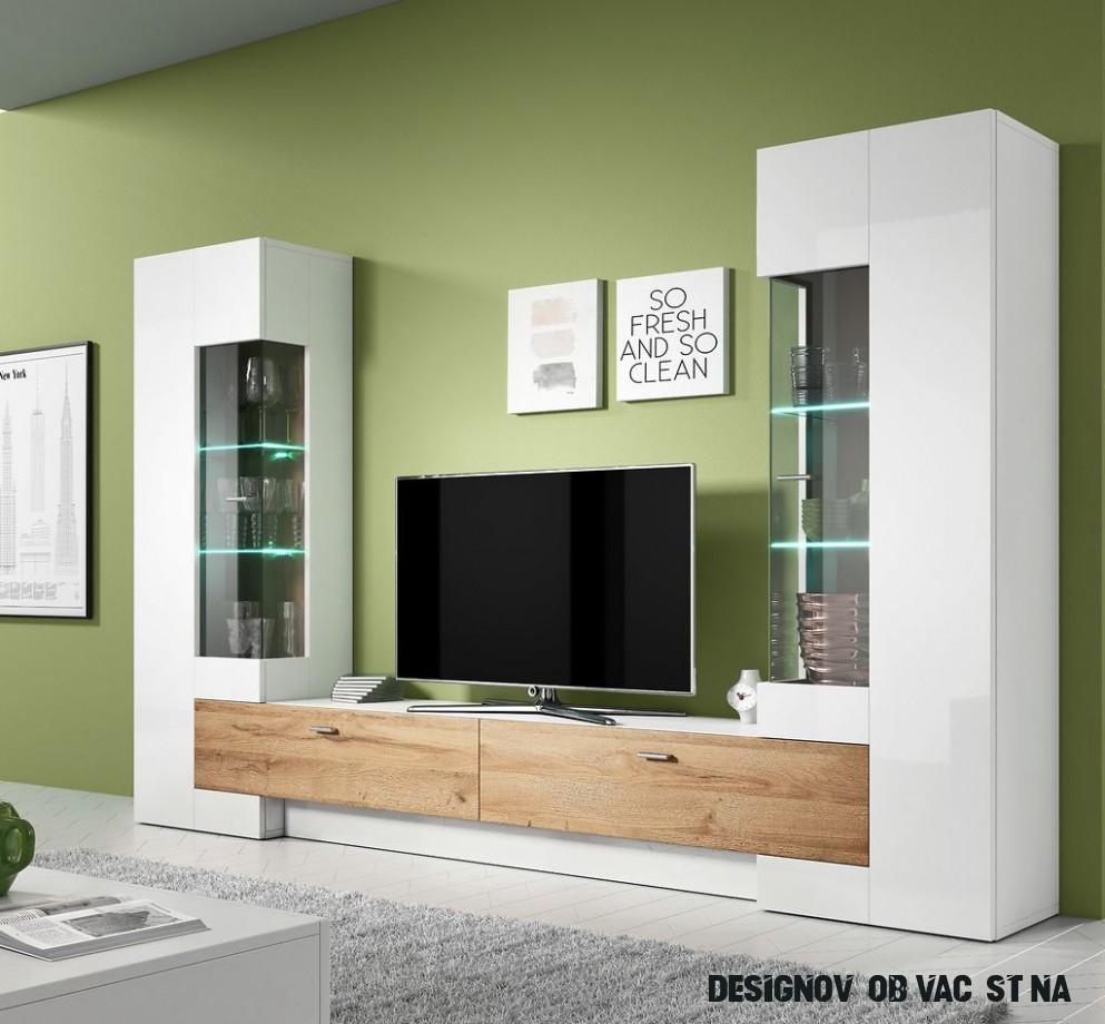 Designová obývací stěna Fiesta, bílá/dub Grandson