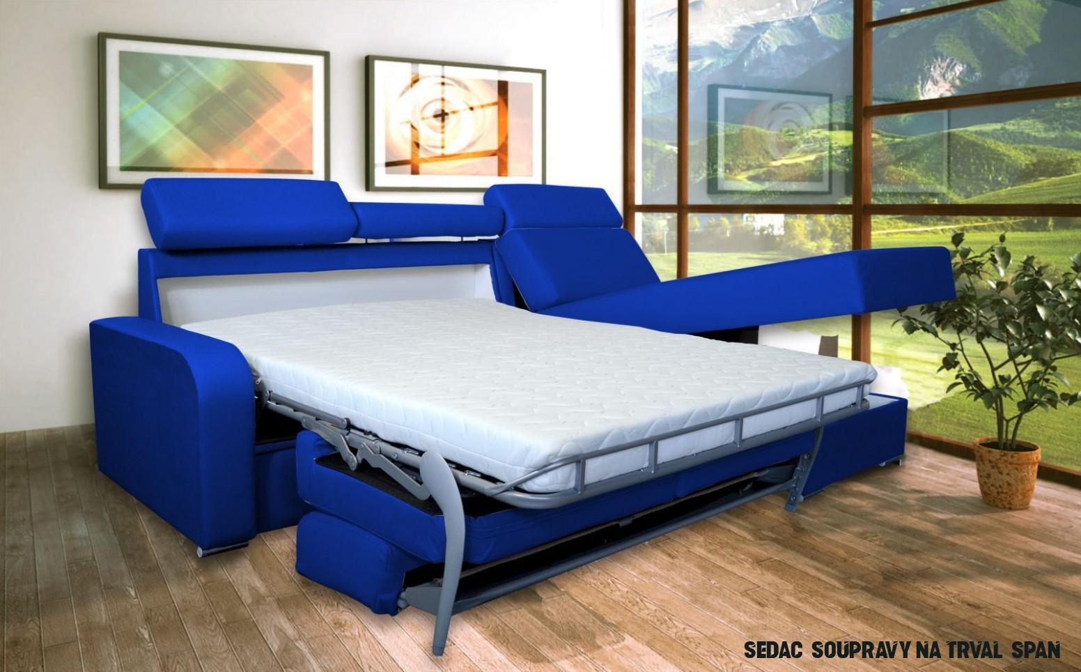 modrá rohová sedací souprava na každodenní spaní DESTINE 17 LP