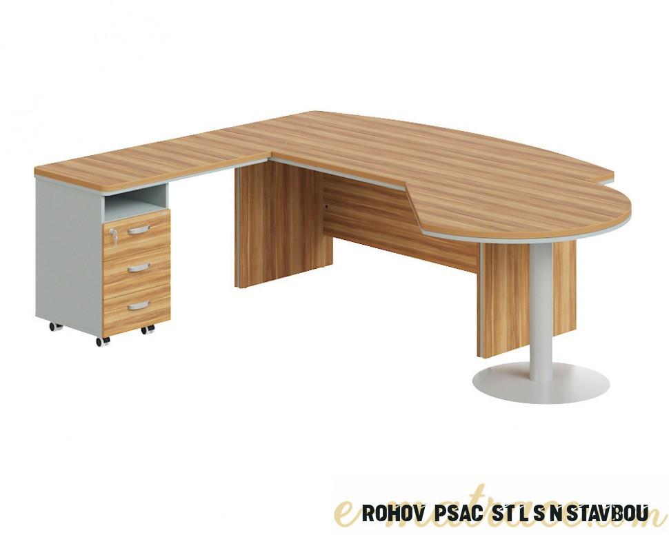 Rohový kancelářský stůl Berlin Lux s kontejnerem 8 cm  E