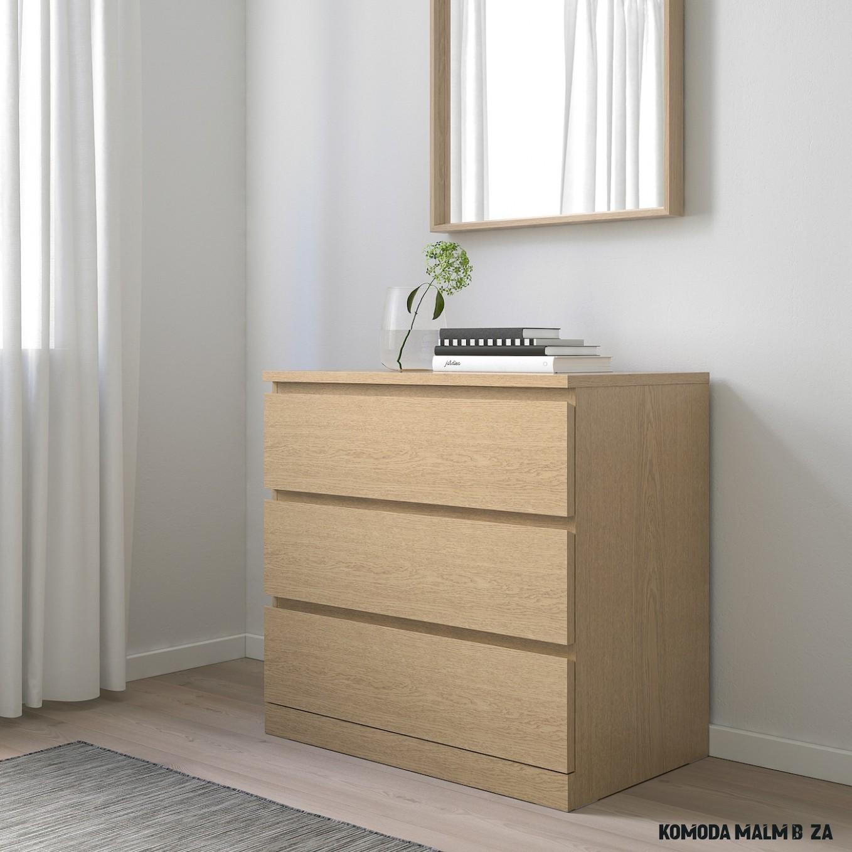 MALM Komoda se 14 zásuvkami, bíle mořená dubová dýha, 14x14 cm - IKEA