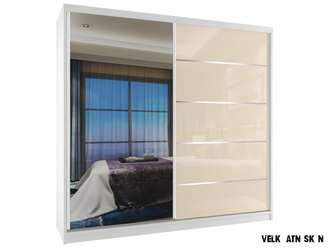 Šatní skříň šířka 13 cm Phani bílá/béžová