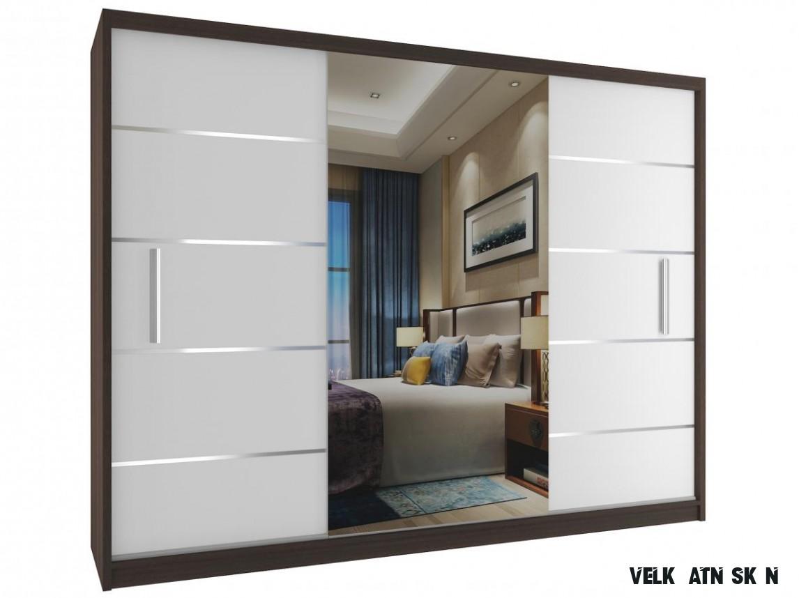 Velká šatní skříň se zrcadlem Kian 13 cm