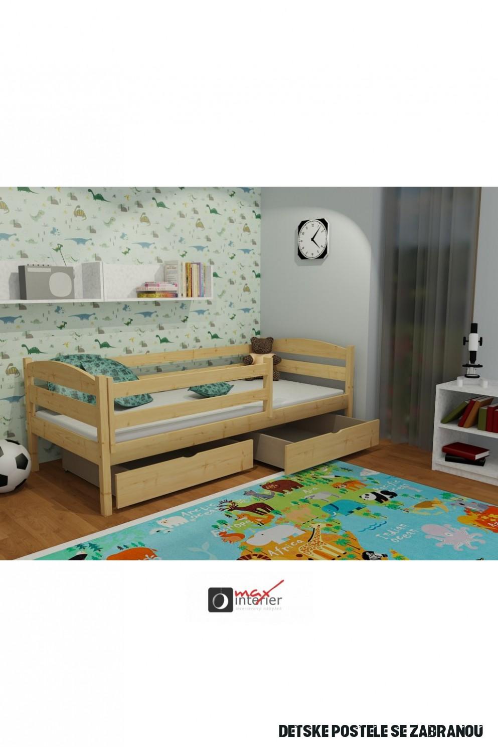 Dětská postel se zábranou ŽOFKA PINE vč. roštu
