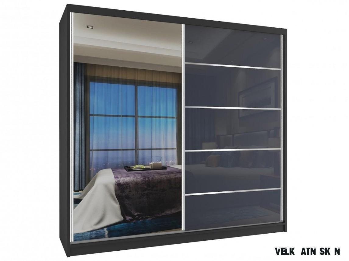 Velká šatní skříň 13 cm Phani černá/šedá