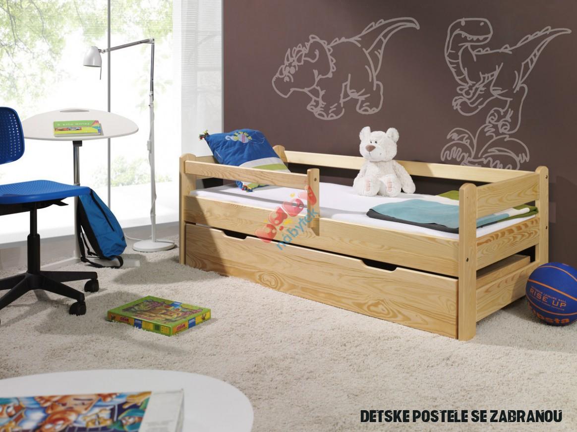 Dětská postel Woody se zábranou - přírodní - Se zábranou