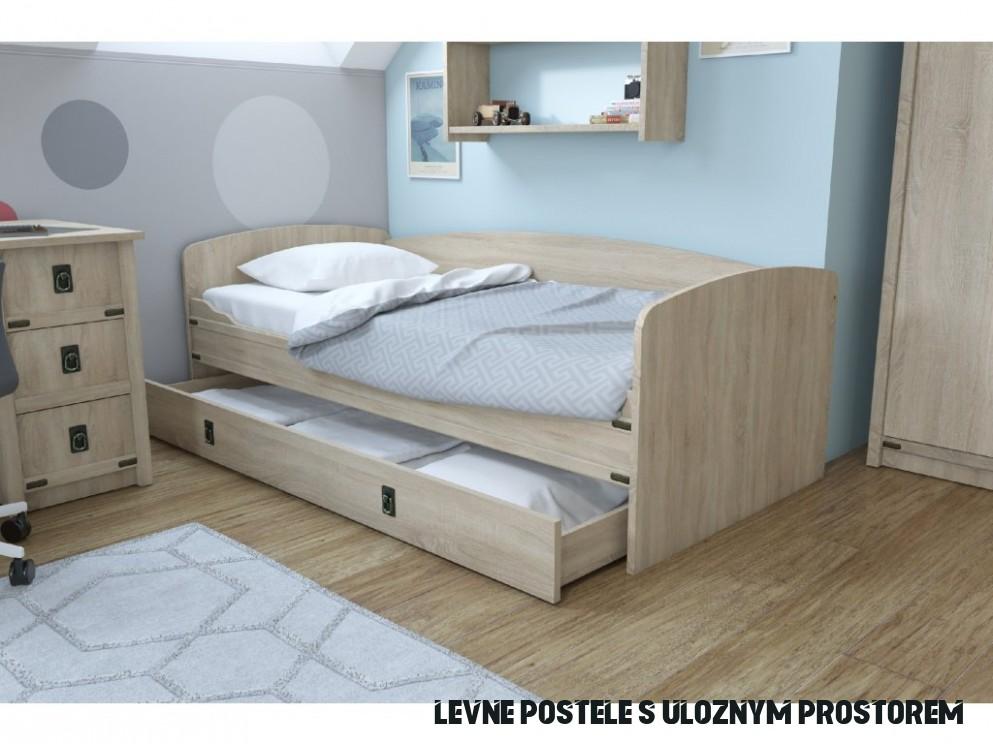 Dětská postel 19x19 s úložným prostorem TORRO, sonoma