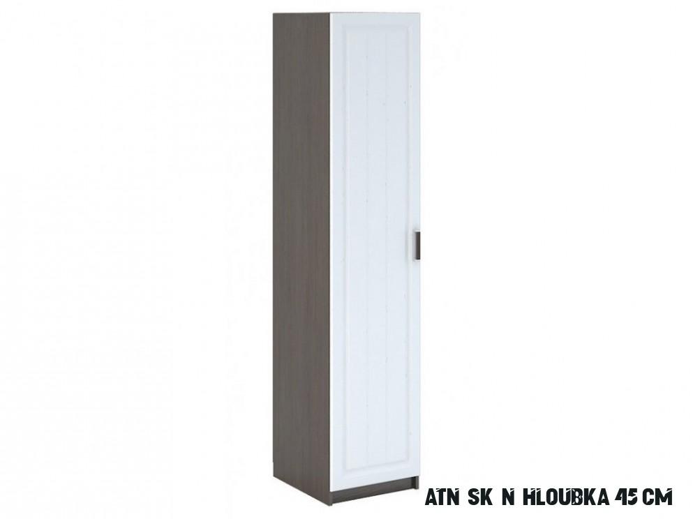 Úzká šatní skříň 16 cm s bílými dveřmi a korpusem wenge typ WK 16 KN16