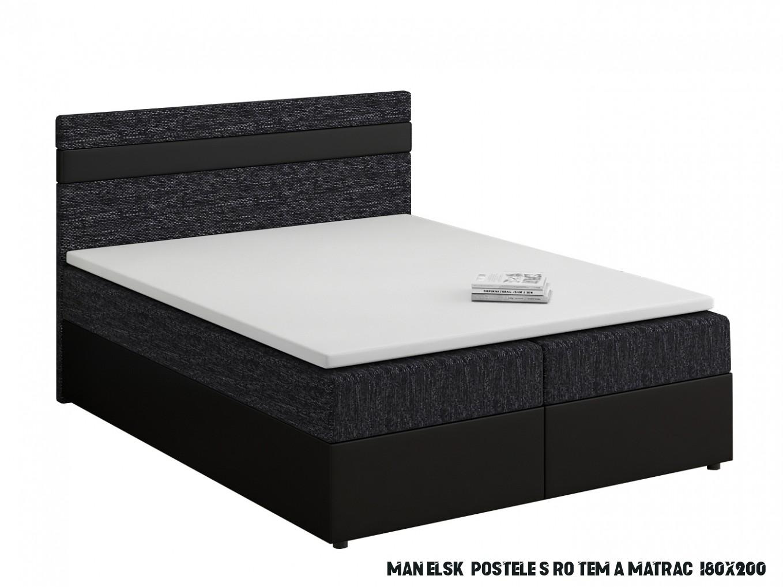 Manželská postel Boxspring 13x13 cm Mimosa (s roštem a matrací) (černá +  černá)  HezkýNábytek.cz