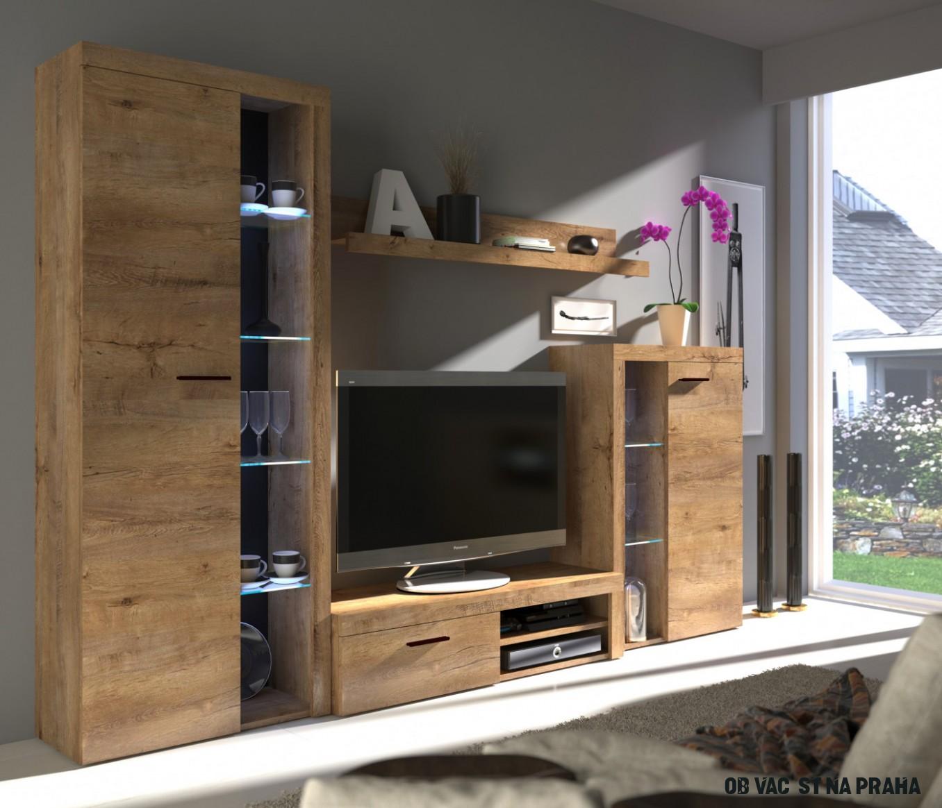Kvalitní obývací stěna Pires odstín Dub lefkas