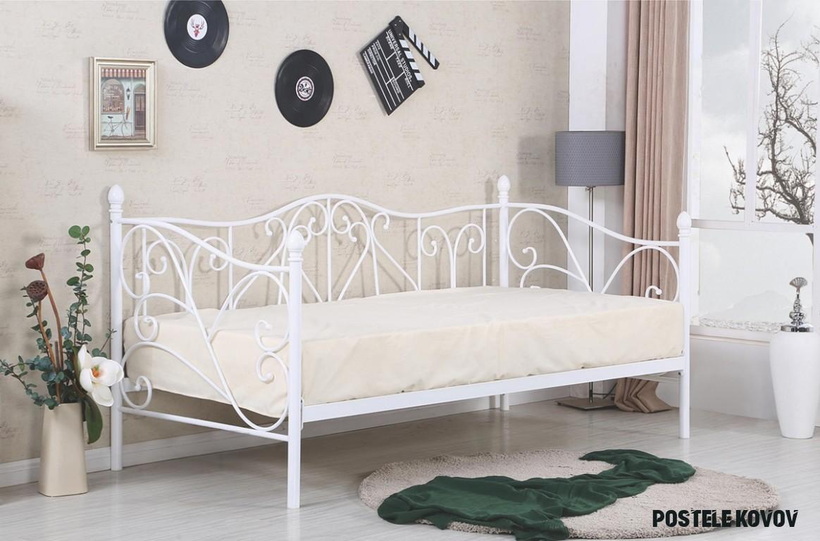 Kovová jednolôžková posteľ s roštom Sumatra 8 - biela