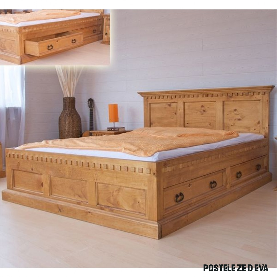 Karel IV postel z masivu dřeva podle výběru  Indický nábytek z