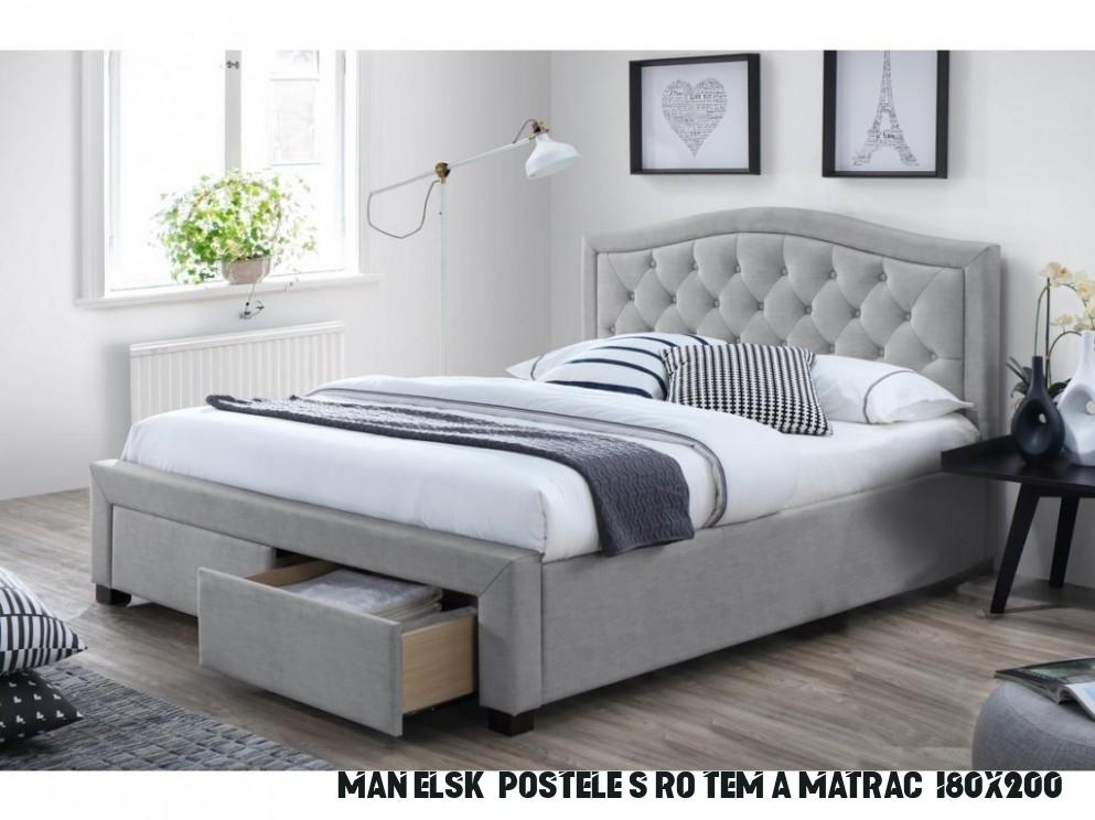 Manželská postel 13x13 cm čalouněná látkou v šedé barvě s roštem a  úložným prostorem KN13 - NAKUP-NABYTEK.cz