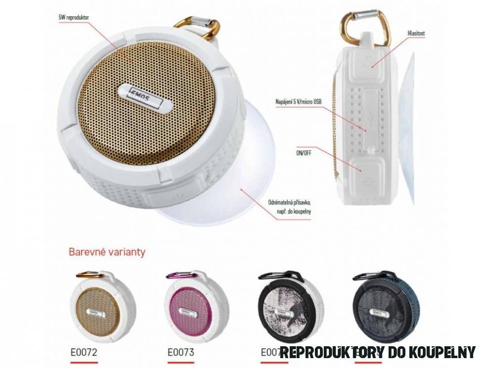 Bluetooth reproduktor Emos FREESTYLER zlatý 15W voděodolný outdoor speaker  koupelnový