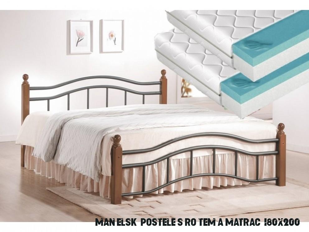 Manželská postel 13x13 cm v klasickém stylu s roštem a matracemi KN13