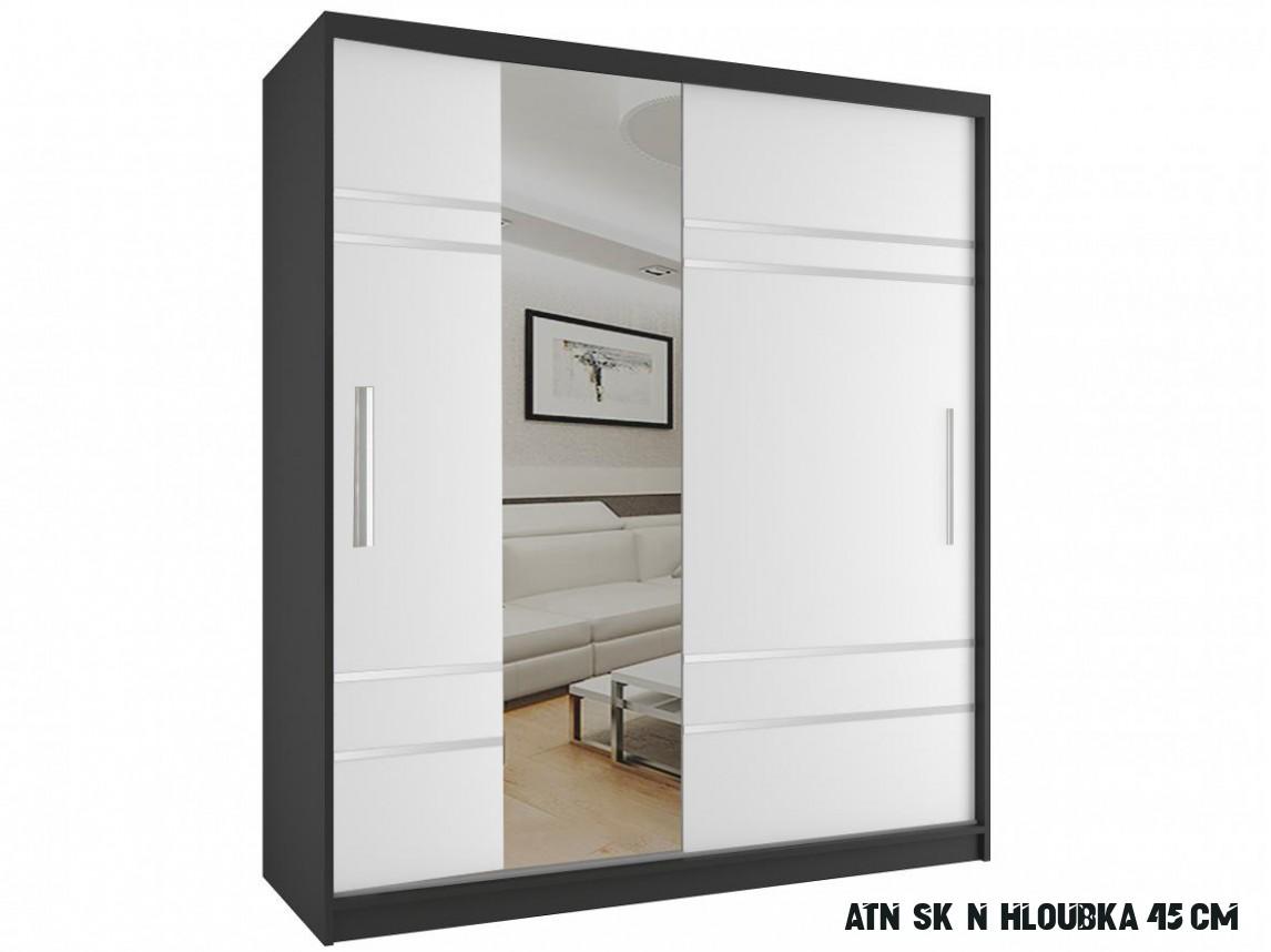 Skříň do ložnice Kenne černá/bílá 16 cm