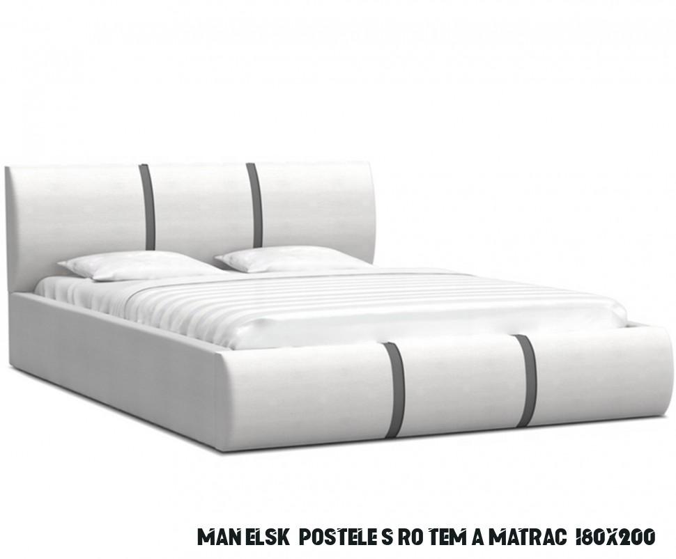 Čalouněná manželská postel PLATINUM bílá šedá 13x13 Trinity s dřevěným  roštem