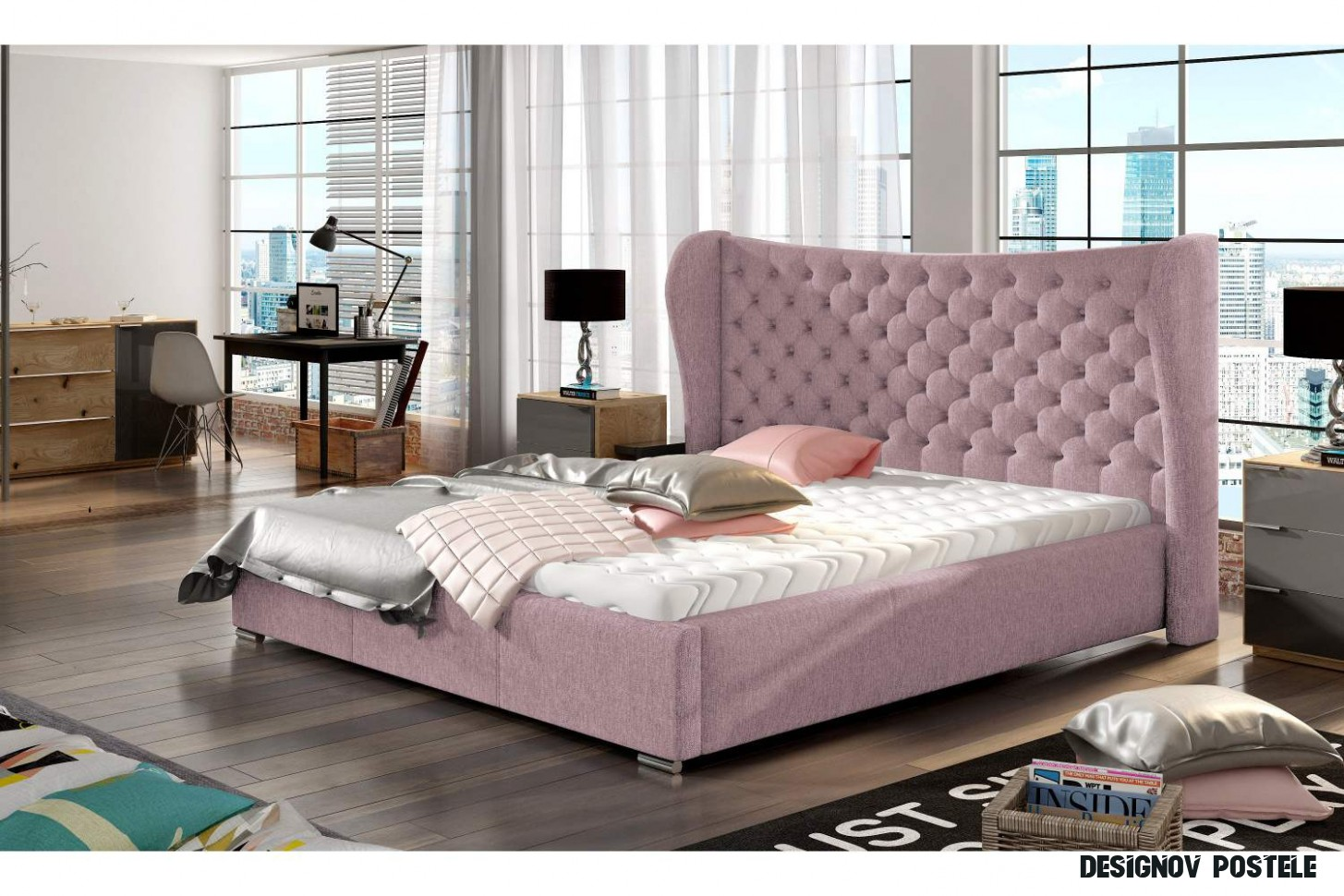 Designová postel Virginia 18 x 18 - 18 barevných provedení