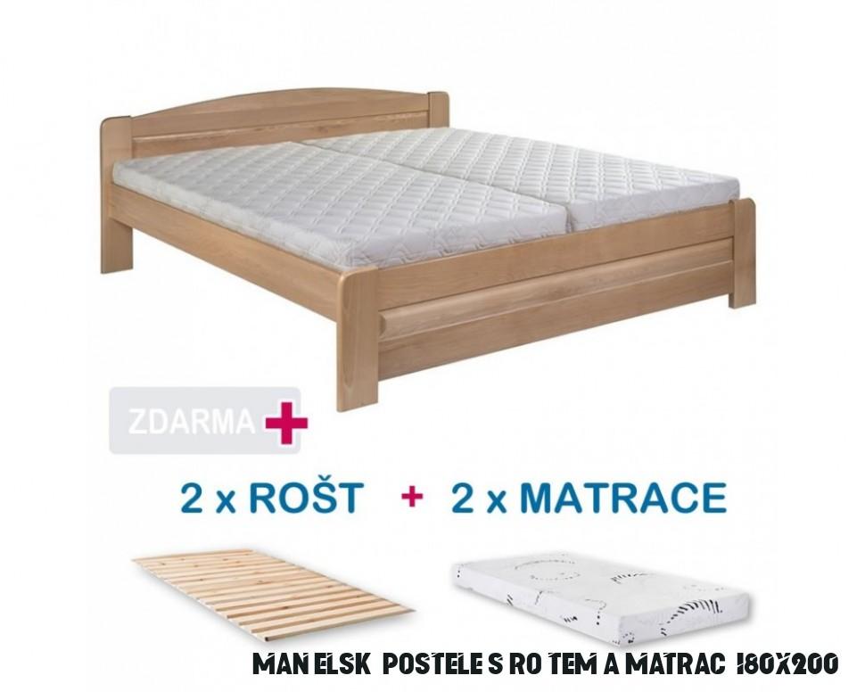 Manželská postel LADA s roštem a matrací ZDARMA 13x13, masiv buk
