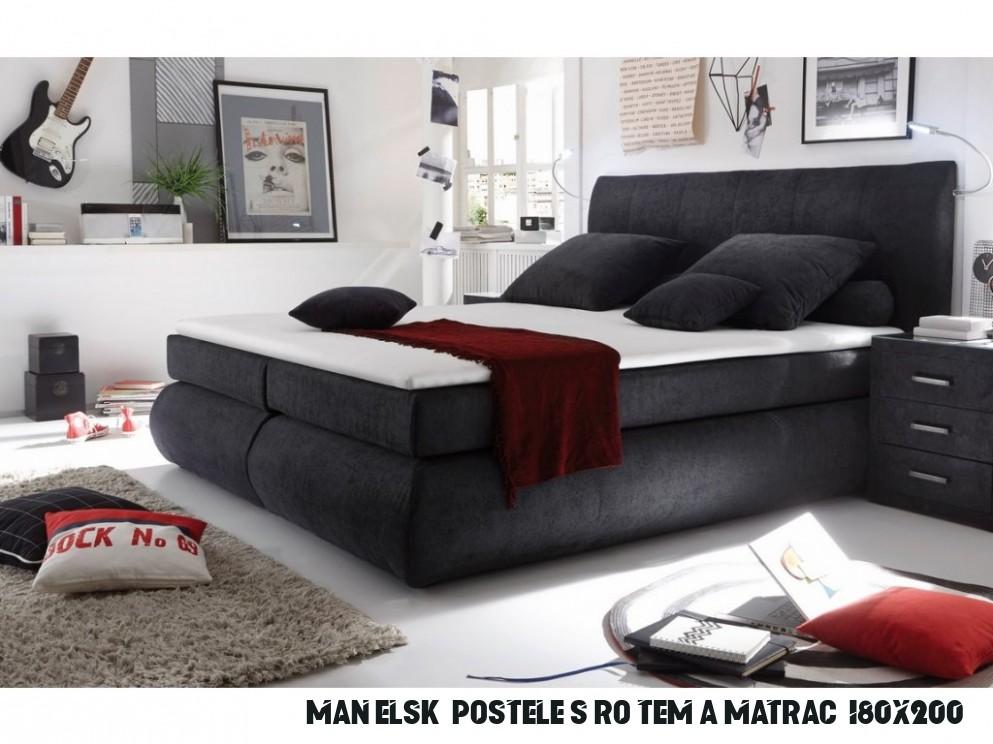 Manželská postel s matrací 13x13 cm moderního vzhledu tmavě šedá KN13
