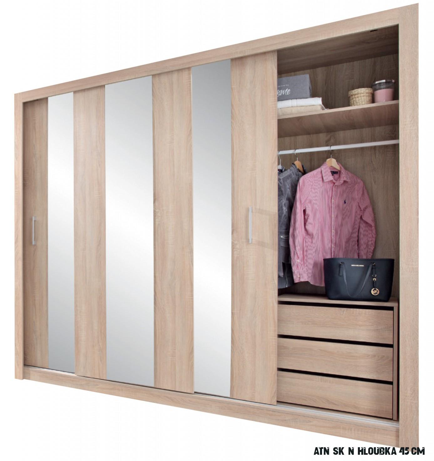 Šatní skříň dub sonoma s posuvnými dveřmi Konica 16 cm  Zadara