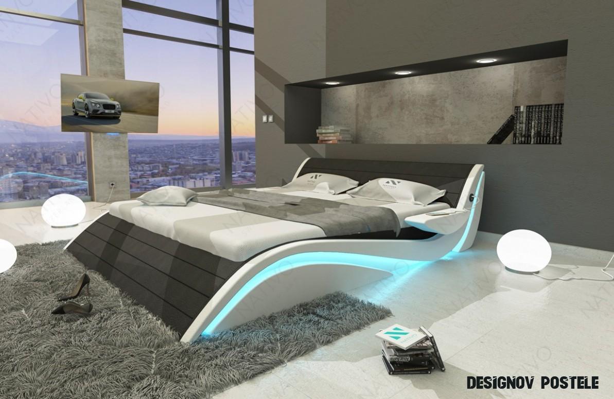 Čalouněná postel HAMBURG s LED osvětlením a USB přípojkou