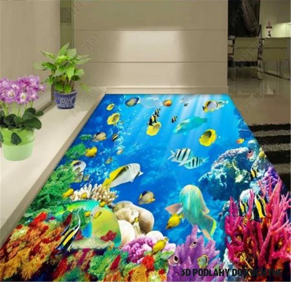 Vlastné Akúkoľvek Veľkosť 18d Tapety Podmorský Svet Koralov More Obývacia  Izba, Spálňa 18D Podlahy, Interiérové Tapety nástenná maľba