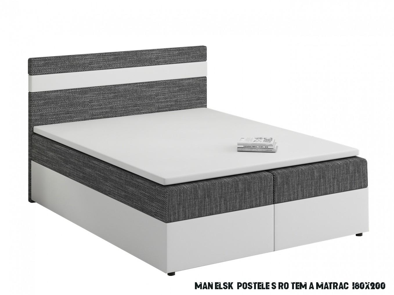 Manželská postel Boxspring 13x13 cm Mimosa (s roštem a matrací) (bílá +  tmavě šedá)  HezkýNábytek.cz