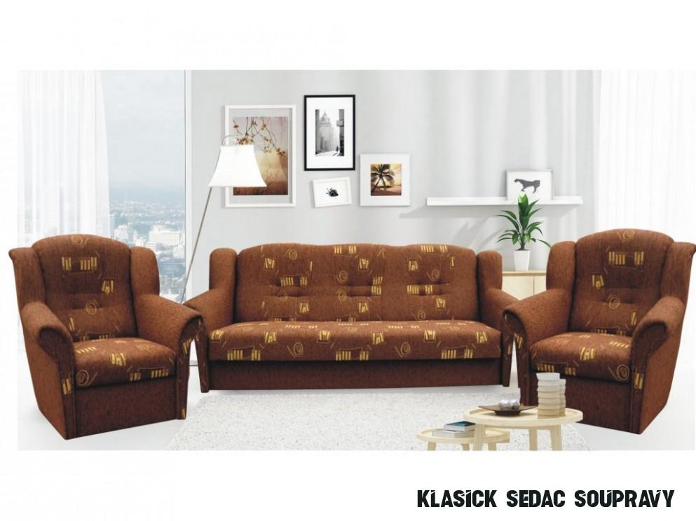 Klasická sedací souprava v hnědé barvě 5+5+5 F5462 - NAKUP-NABYTEK.cz