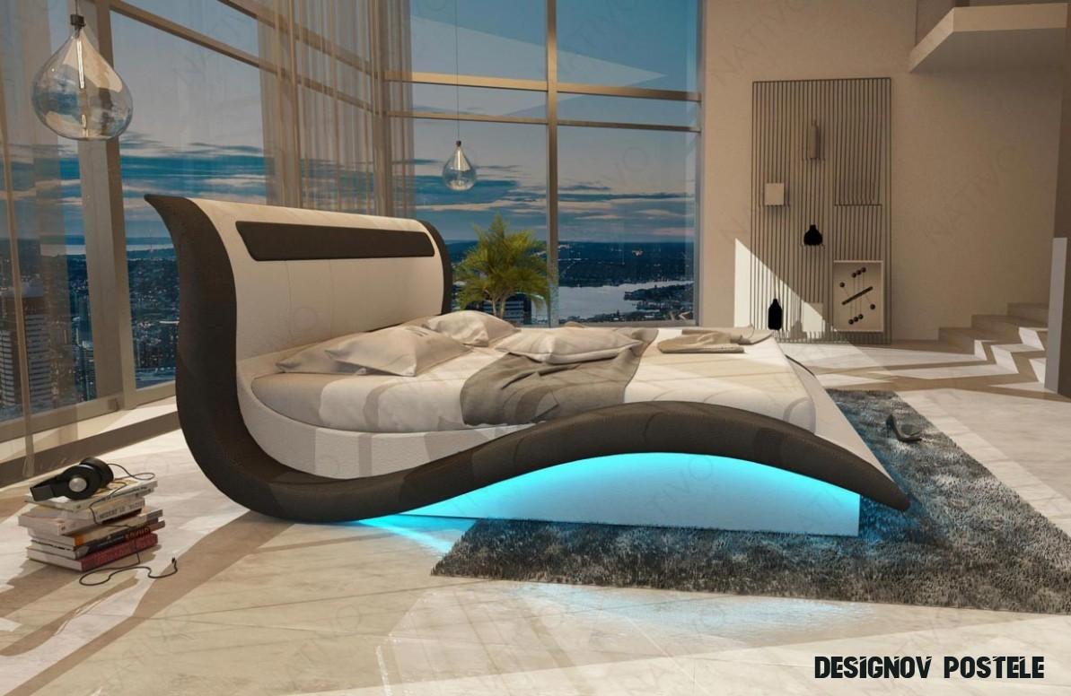 Čalouněná postel AMSTERDAM s LED osvětlením a USB přípojkou