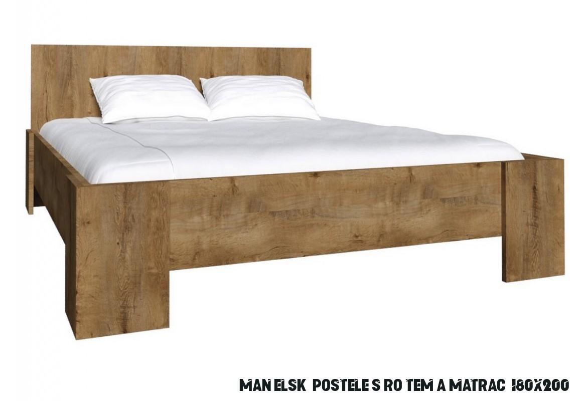 Manželská postel COLORADO L-13 + matrace + rošt 13x1300 cm