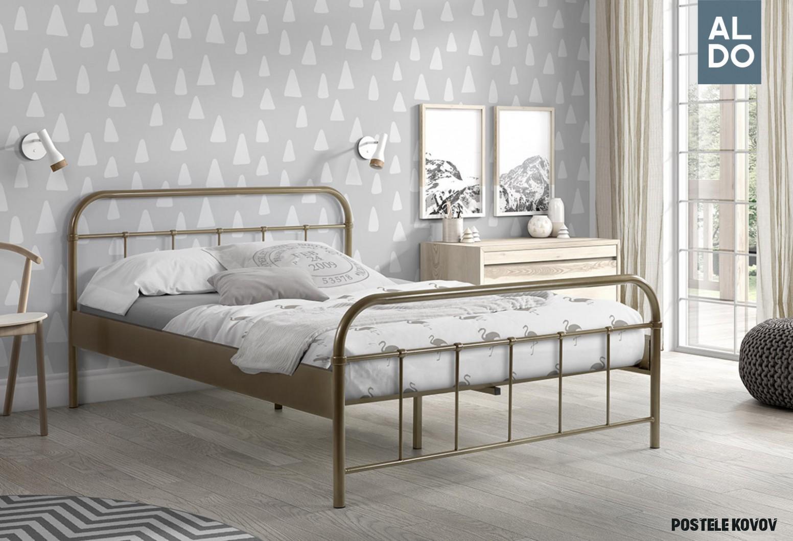 Kovová posteľ Boston hnedá 8x8 cm