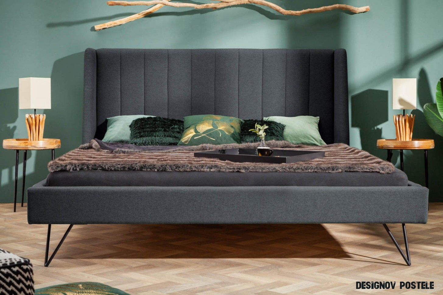 Designová postel Phoenix 18 x 18 cm antracit