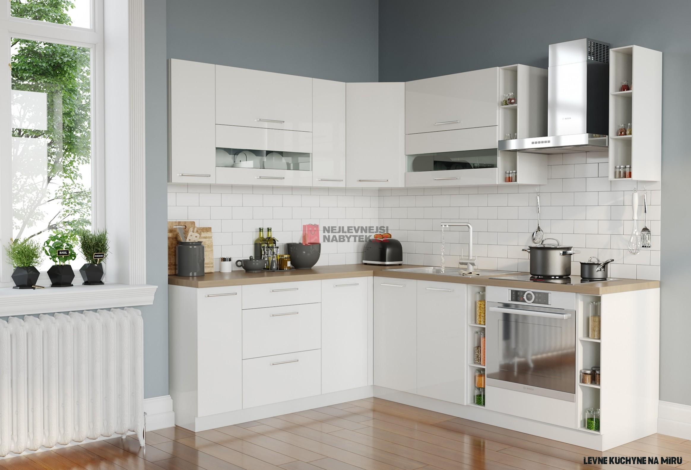 Rohová kuchyně COLBY 15x15, bílý lesk