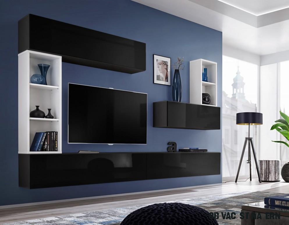 Obývací stěna MADONA I, černá a bílá matná/černý lesk v Sestavy a