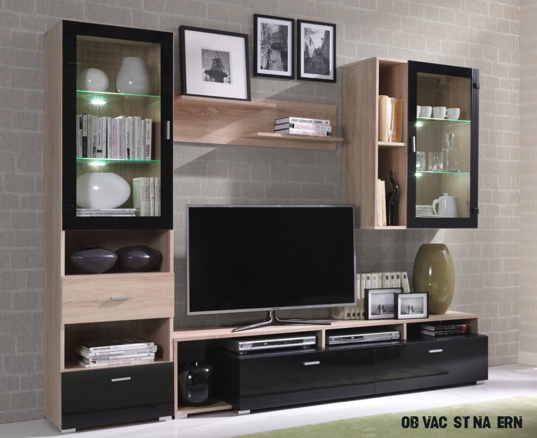 Obývací stěna - Sonoma/černá lesk :