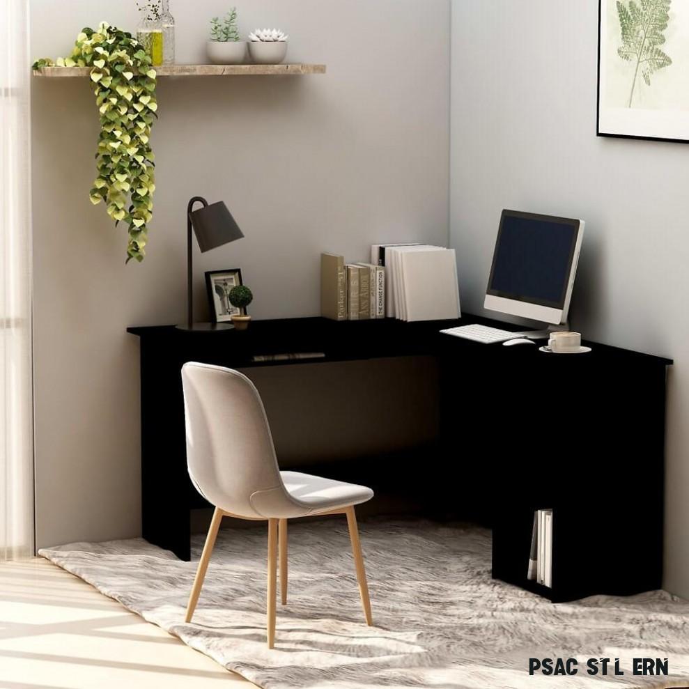 17 vidaXL Rohový psací stůl černý 17 x 17 x 17 cm dřevotříska