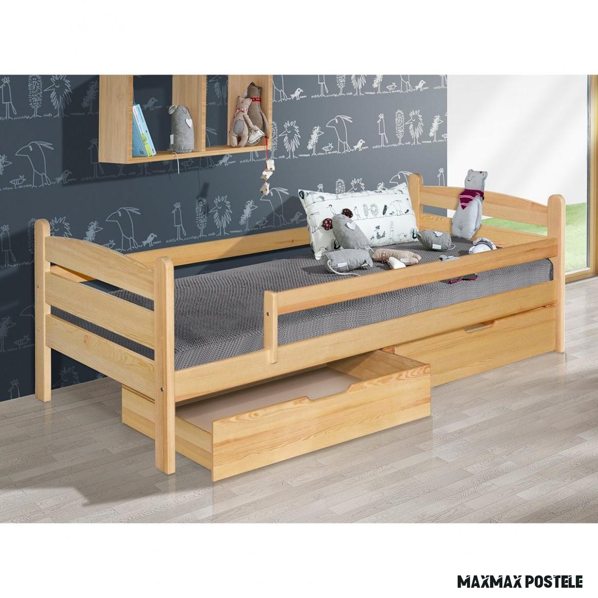 SKLADEM: Dětská postel z MASIVU 18x18cm SE ŠUPLÍKY - MARY