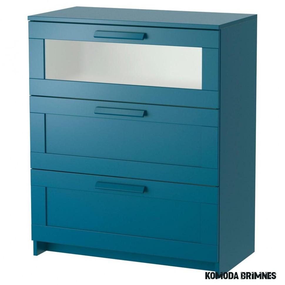 BRIMNES Komoda z szufladami 15 - ciemno zielono-niebieska / matowa