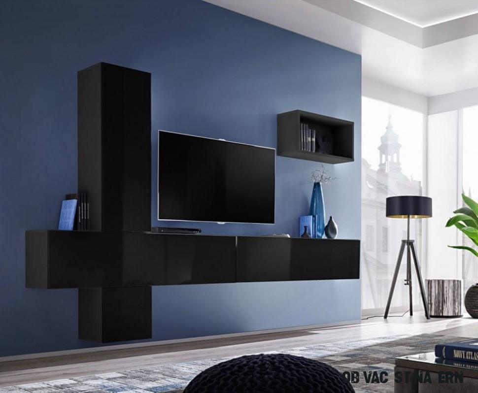 Importworld Obývací stěna MADONA VI, černá matná/černý lesk