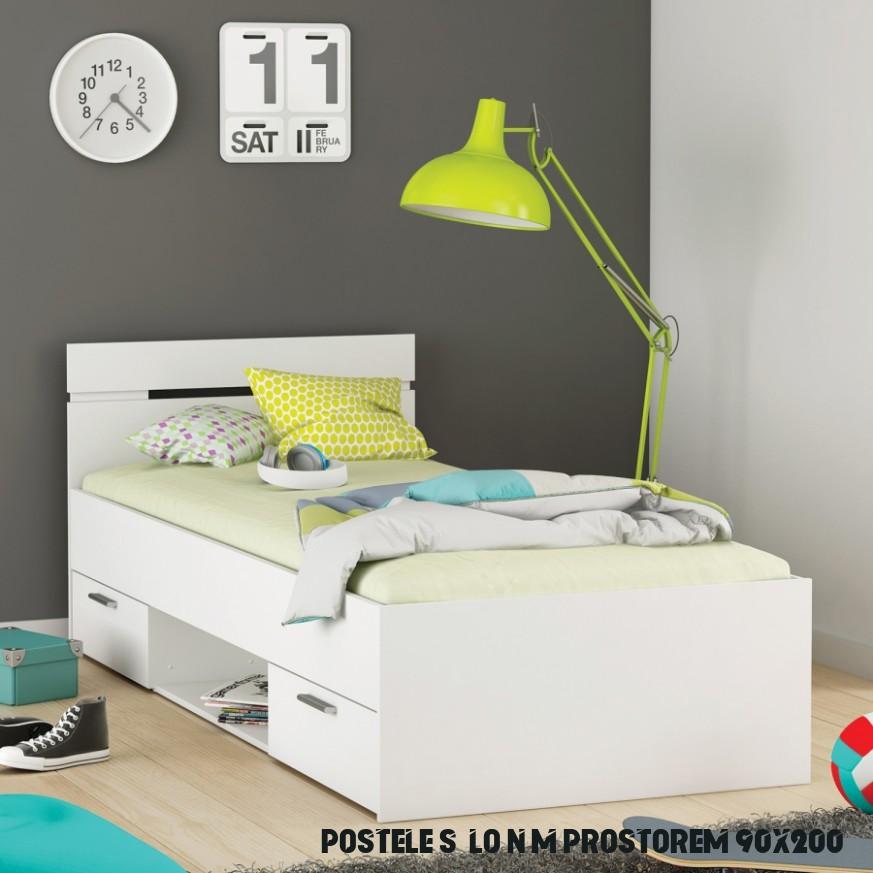 Postel 11x11 s úložným prostorem perleťově bílá, 11 MICHIGAN akce,  super cena, zlevněná doprava