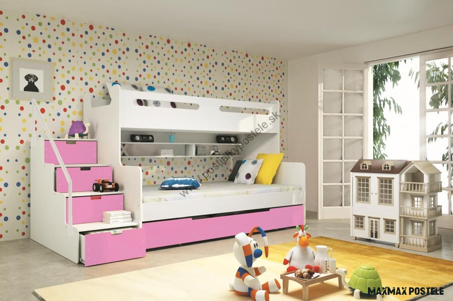MAX 18 - Poschodová posteľ rozšírená - 18x18cm - Biely - Ružový