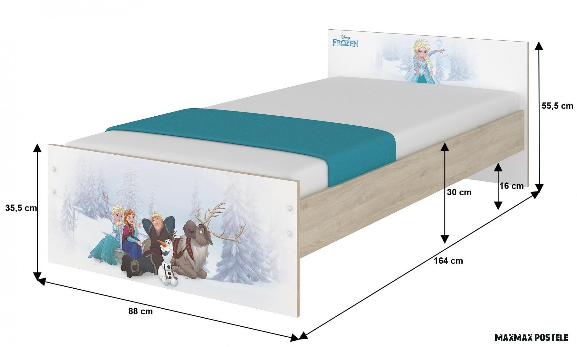 Dětská postel MAX bez motivu 18x18 cm - bílá
